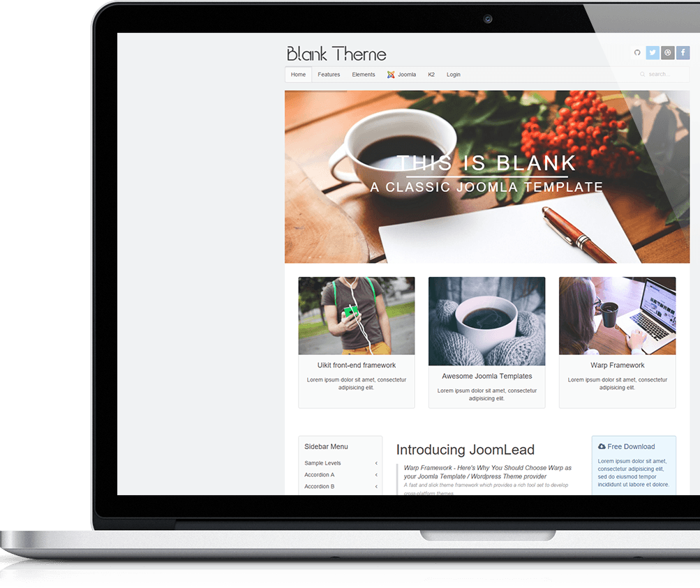 Responsive joomla template jl blank ii for Joomla empty template